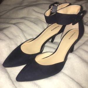 Navy Blue Liz Claiborne Ankle Strap Heels